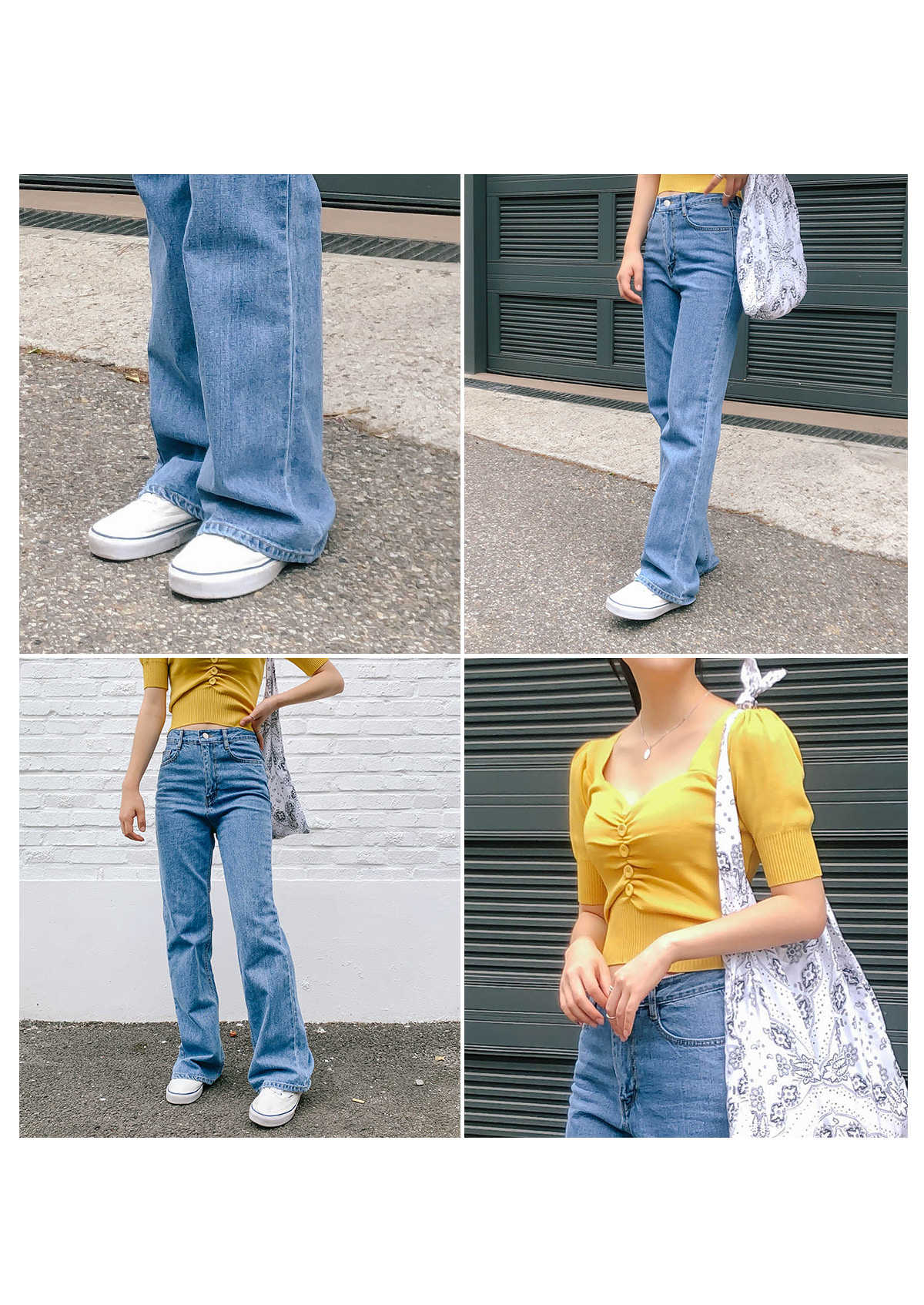 Wide robe denim long pants