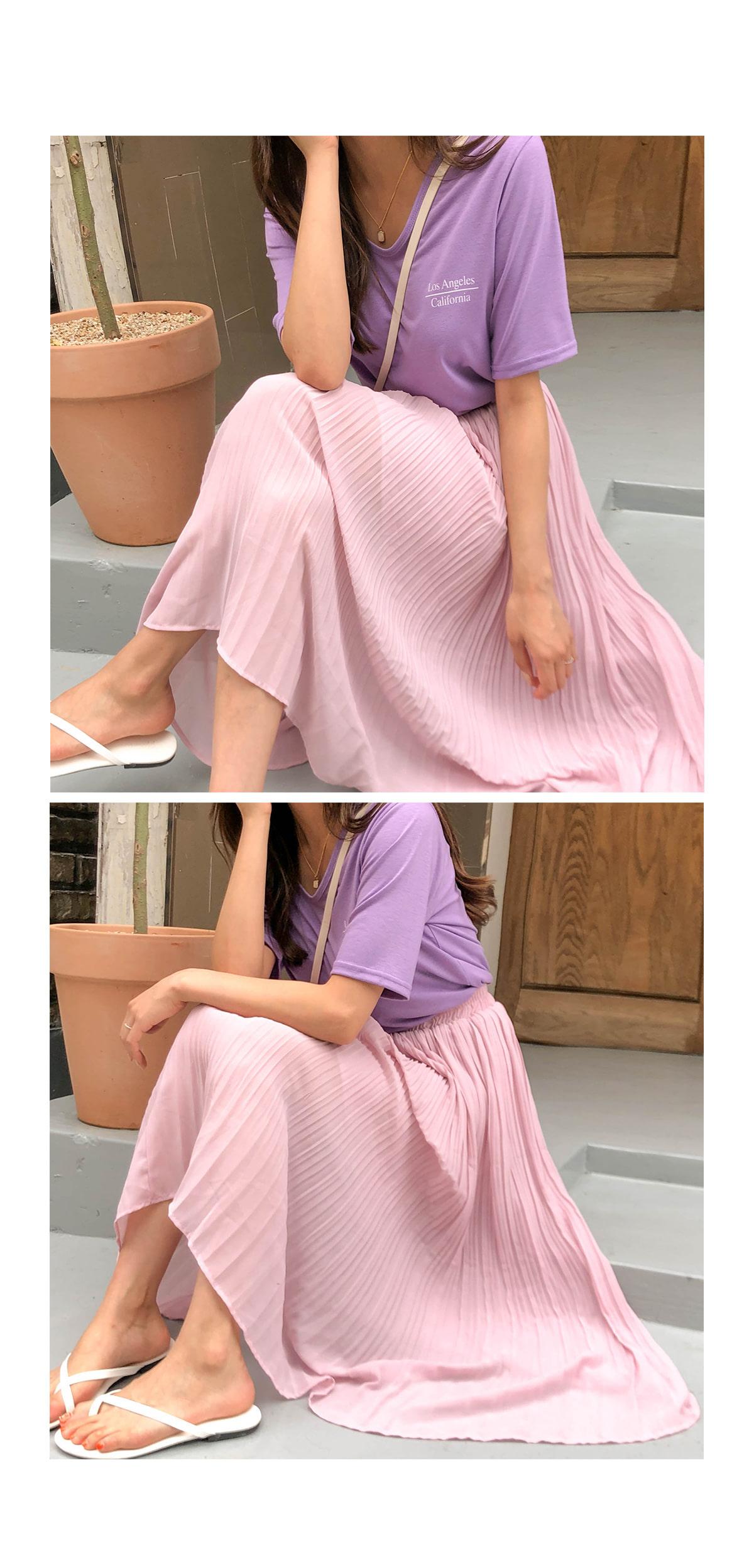 Chiffon shangle pleated long skirt