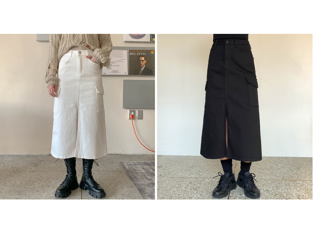 Trimmed Seared Cargo Skirt