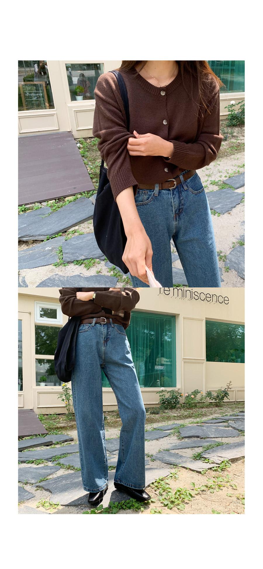 Stand wide denim pants