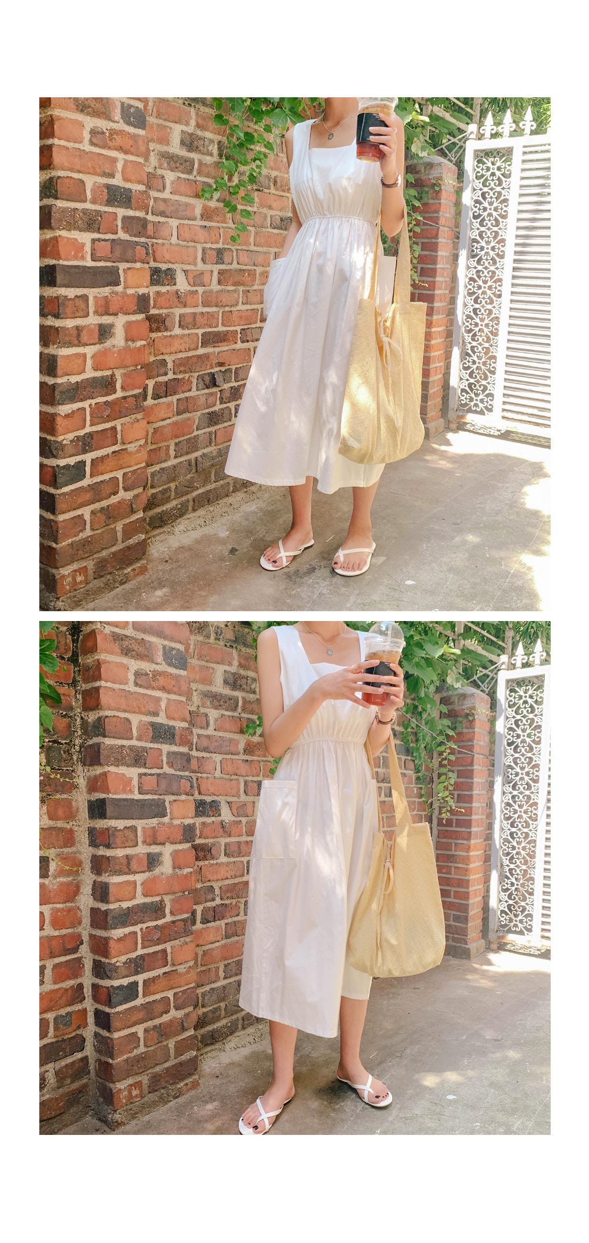 Pocket Selphin Square Long Dress