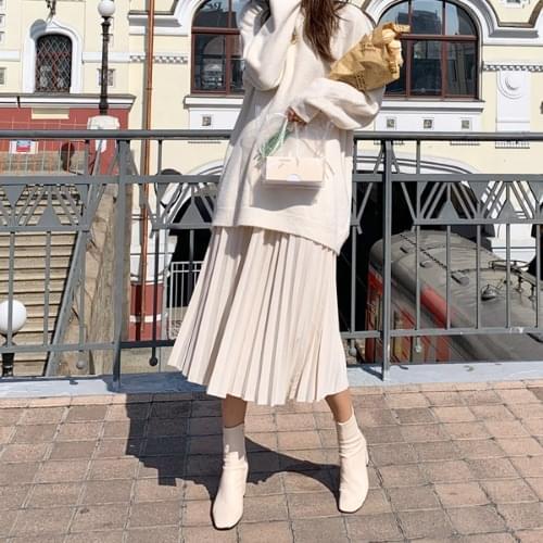 Sendy pleated long skirt