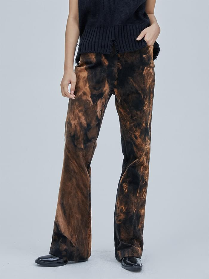 corduroy boots-cut tie dye pants - woman