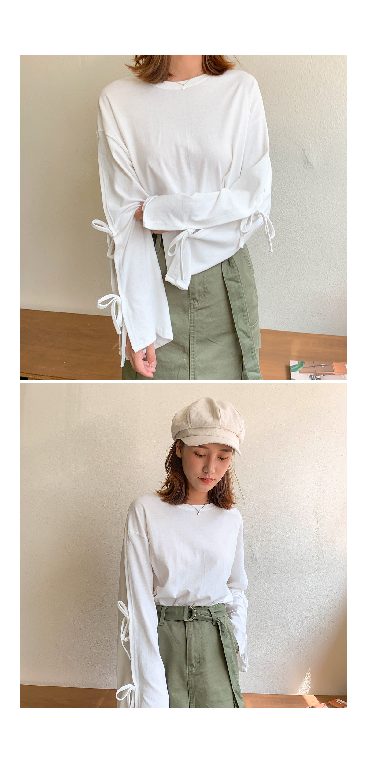 Trim ribbon wide T-shirt