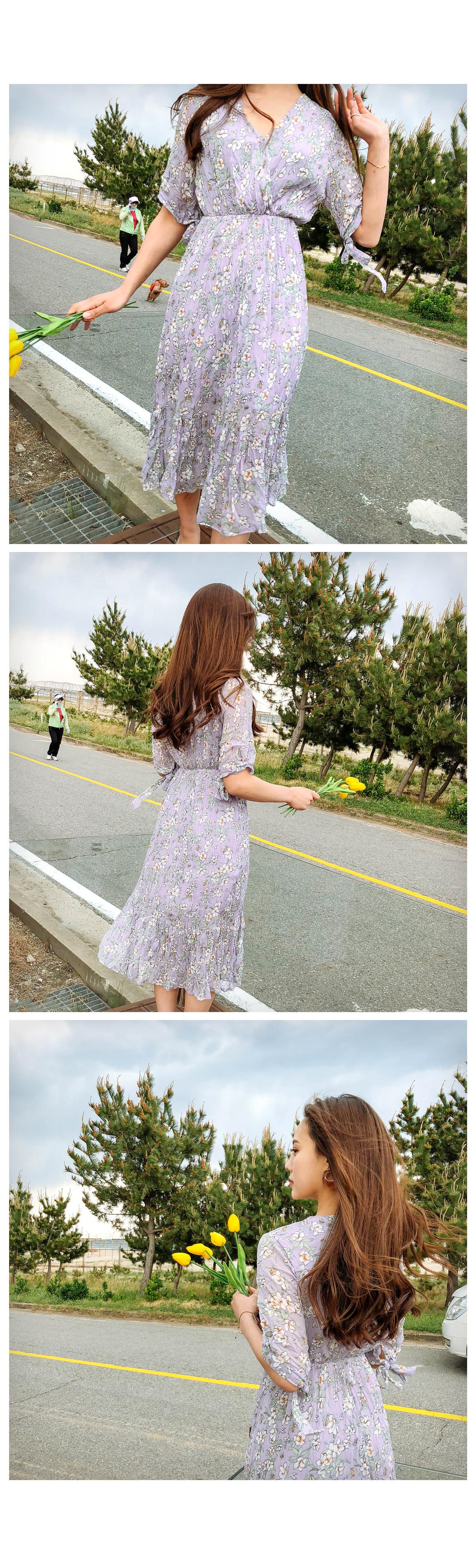 Lavender Flower Long Dress ㅣ 2COLOR Eye Purple Black Bracelet Cuff A-line visitor