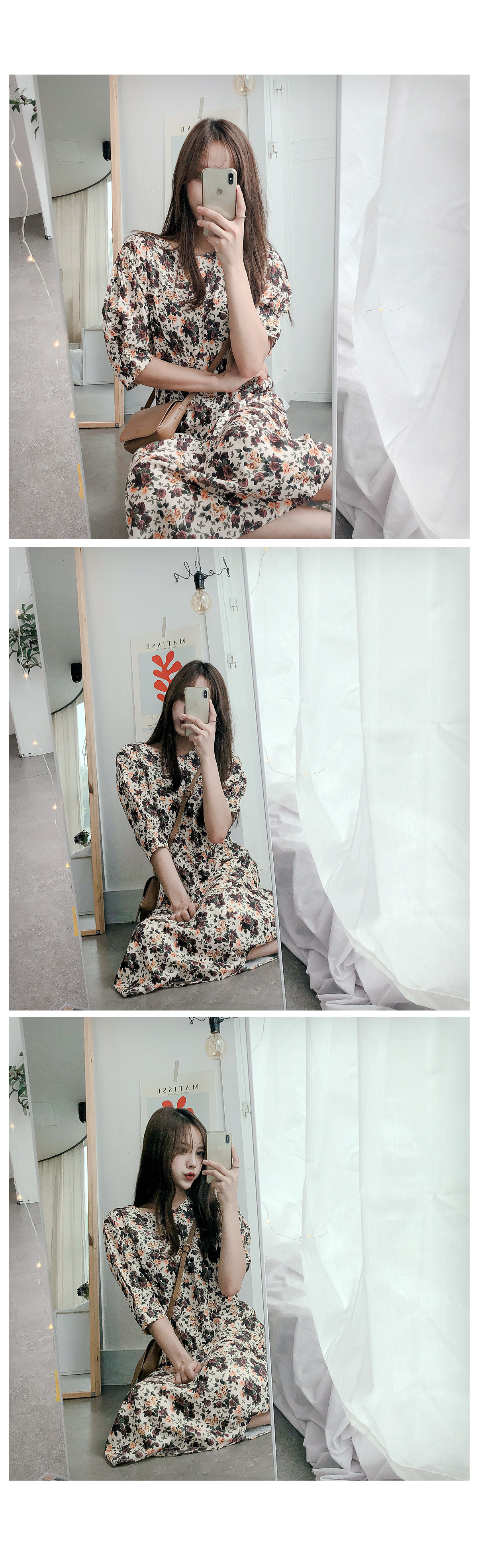 Puffed flower long dress