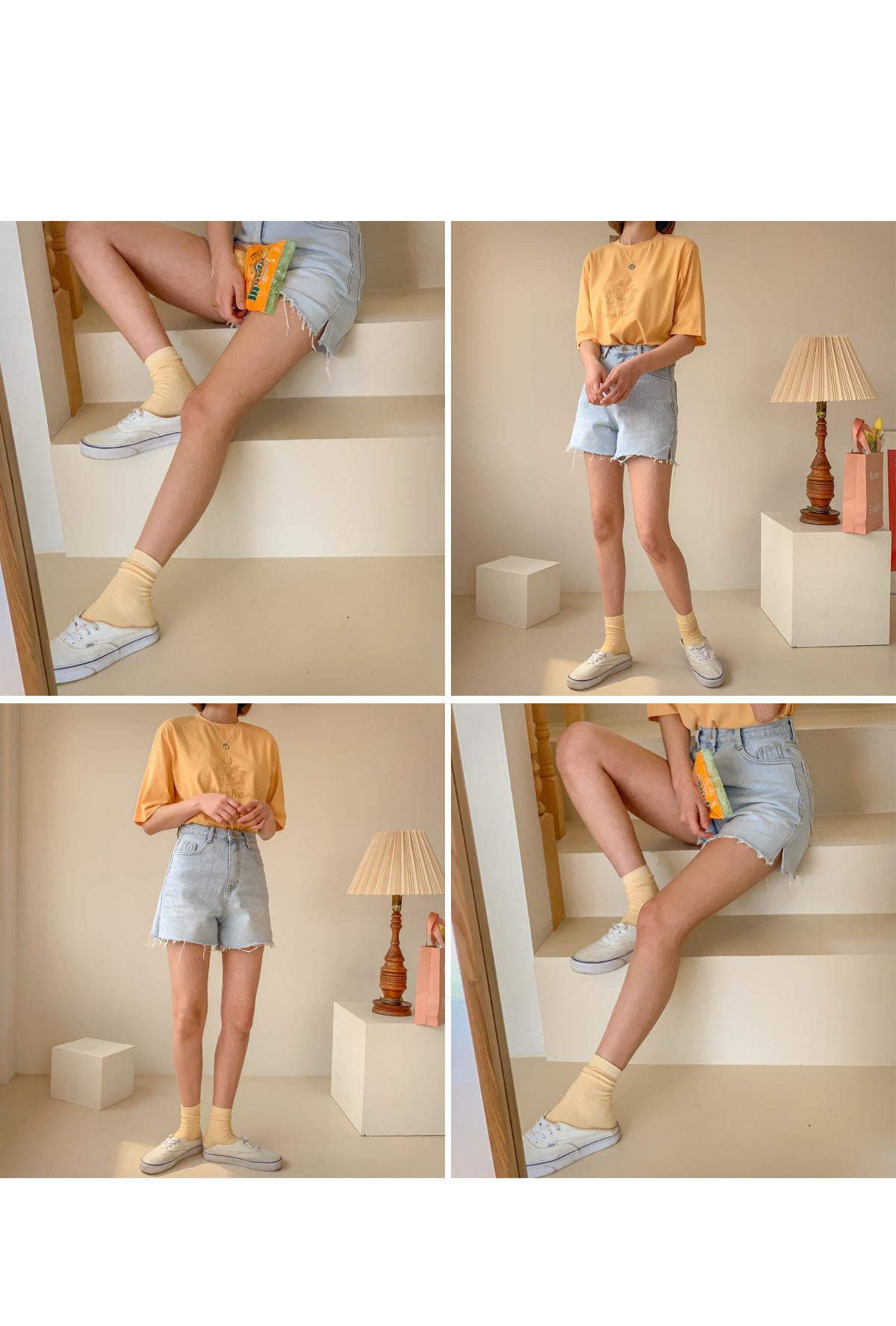 Cutting wear denim shorts