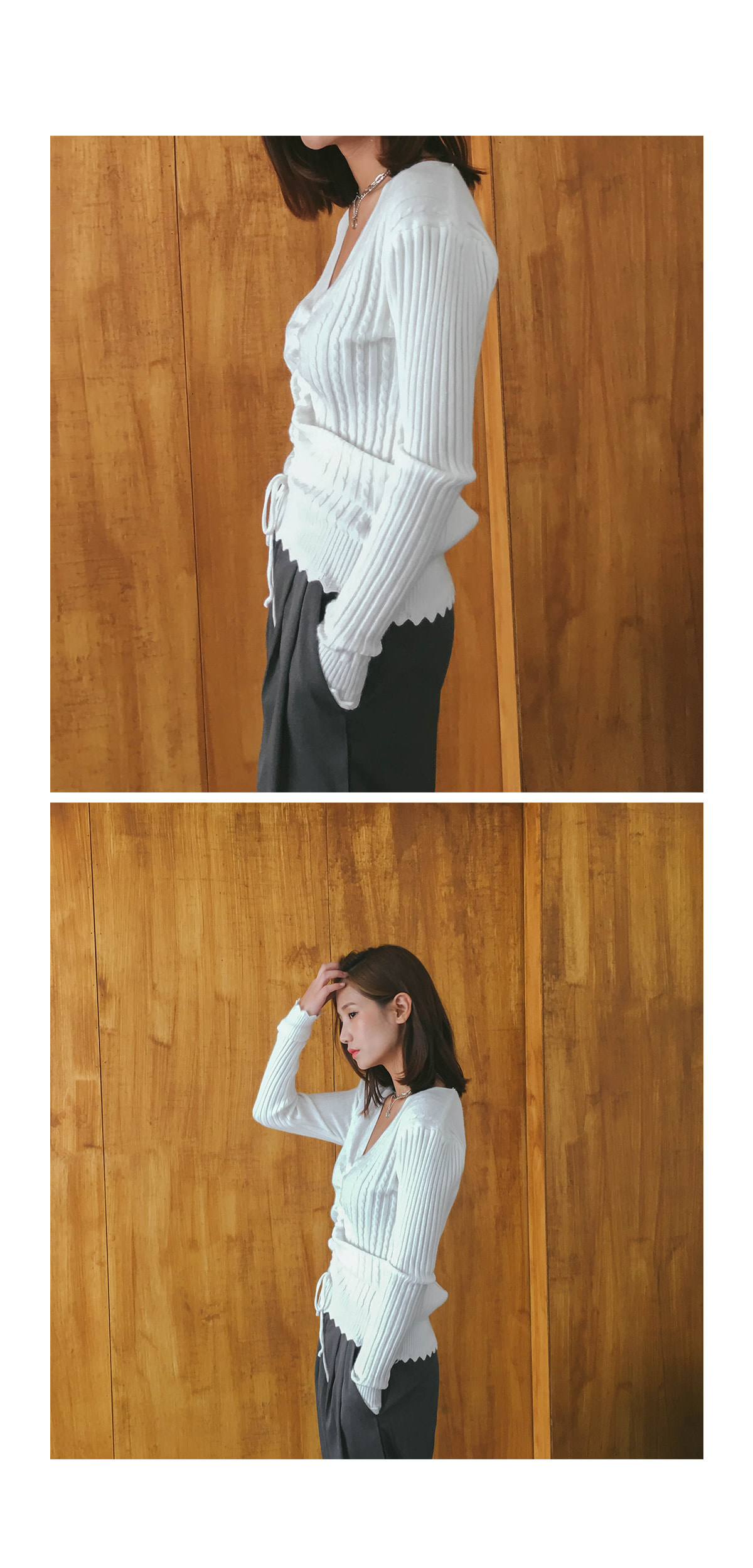 V Neck and Shirring Knit