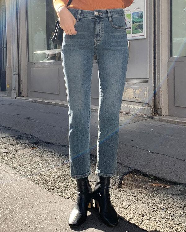 low straight denim pants (s, m, l)