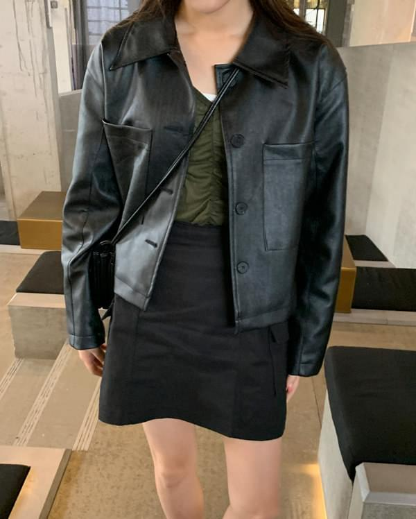 cover two pocket leather jacket