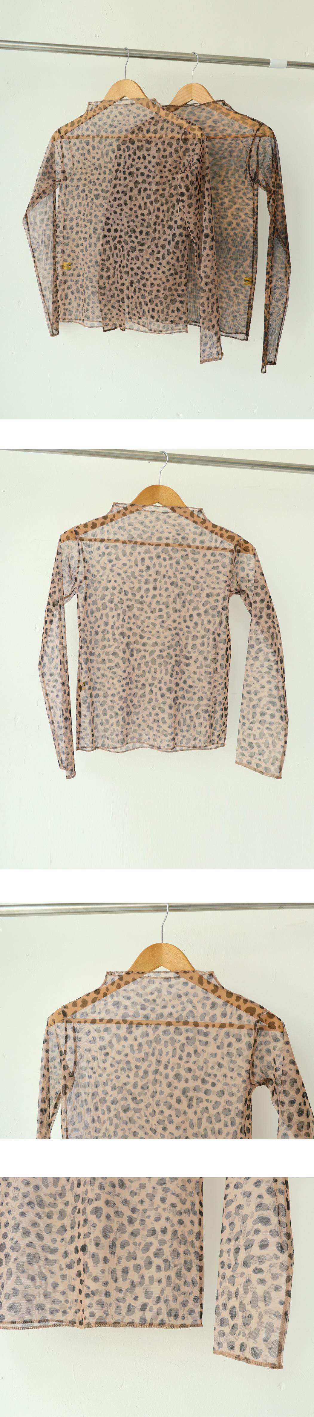 호피 망사 티셔츠 (t0349)
