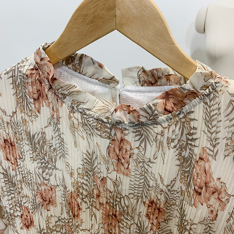Able Flower Pleats Long Dress