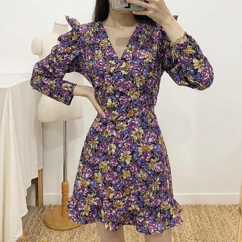 Purple Flower Mini Dress