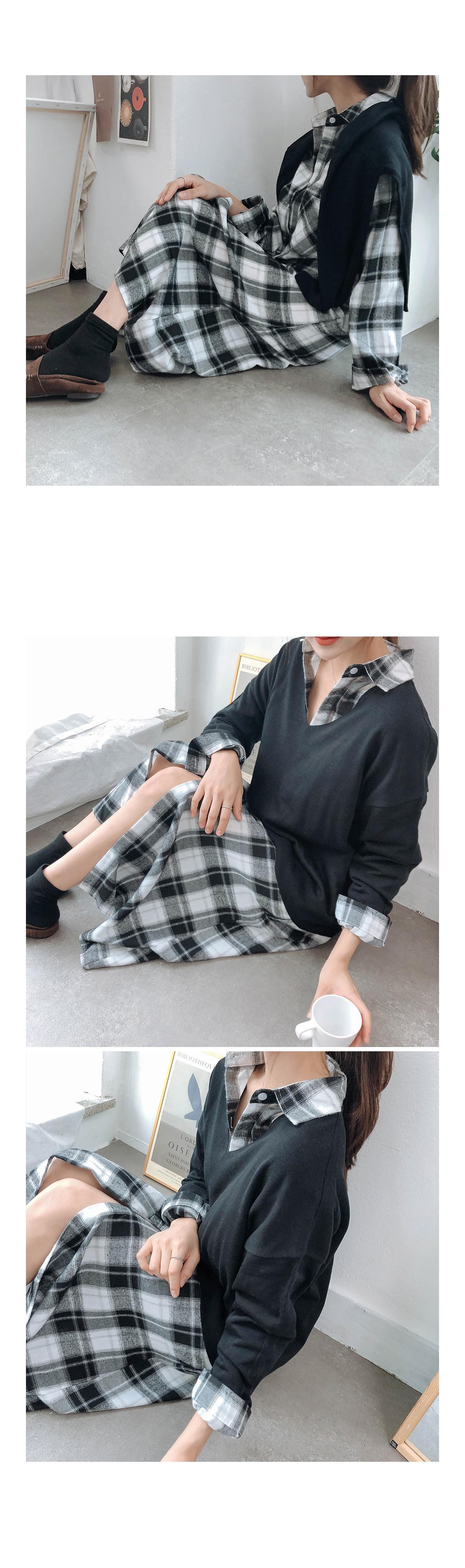 Check croquette shirt & dress