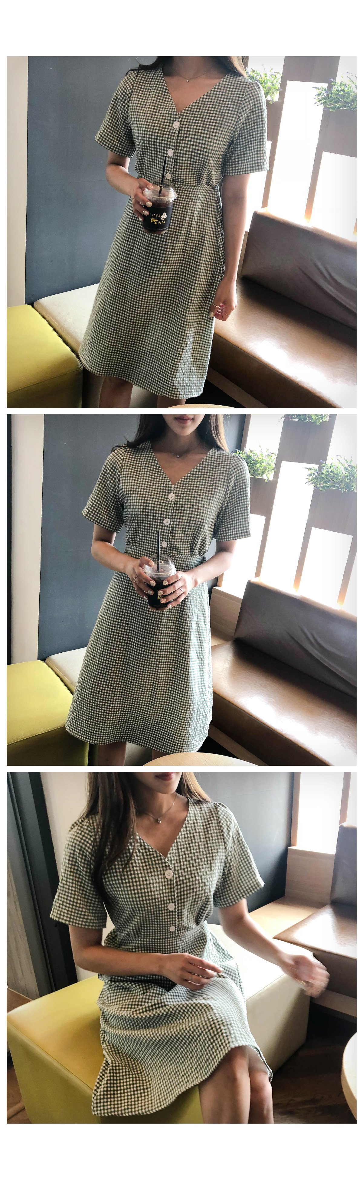 Button Rubin Check Dress