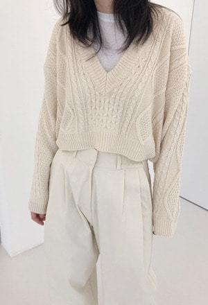 V twist crop knit (3color)