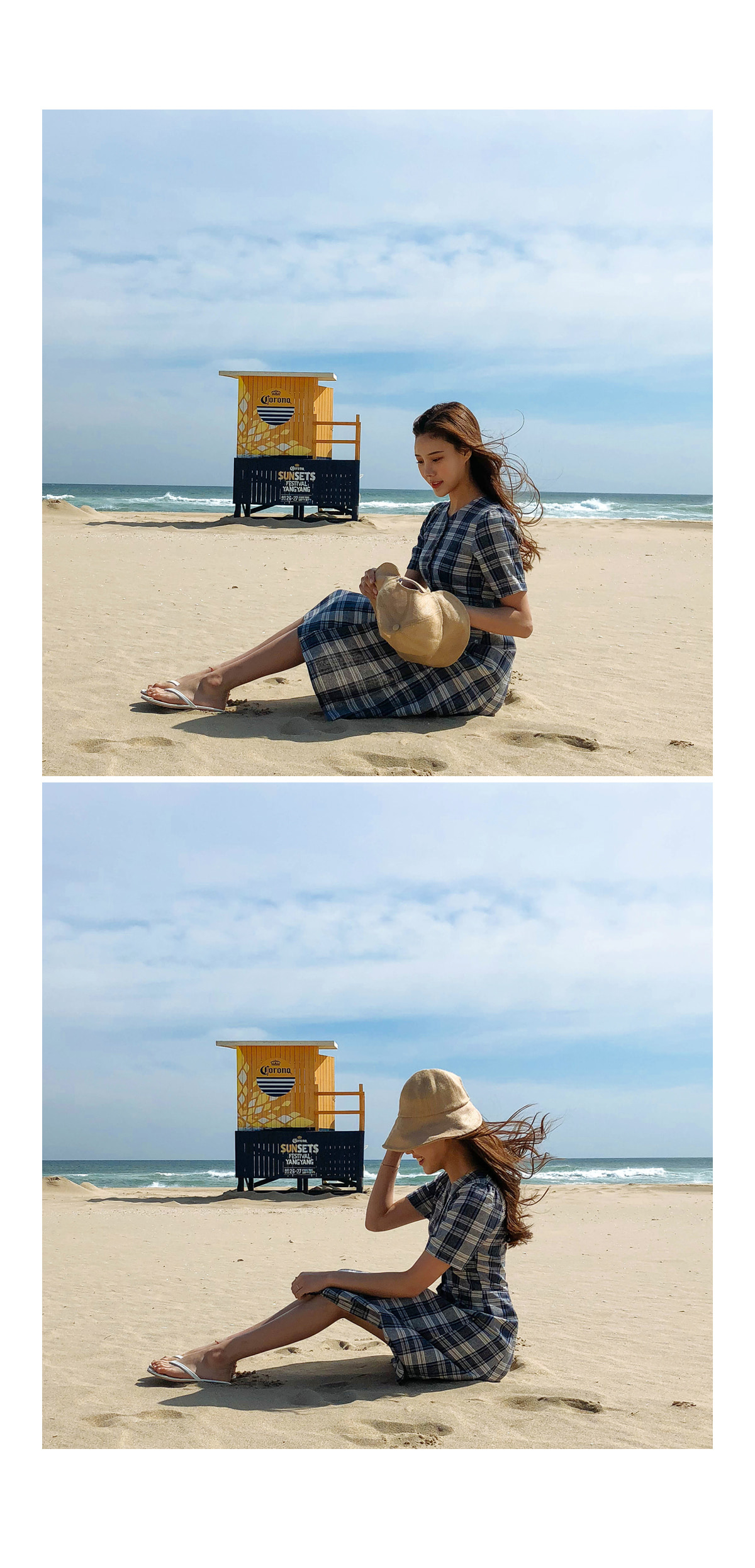 Linen bucket hat ㅣ 1COLOR Yellow Black Ribbon Brass jiggie crop