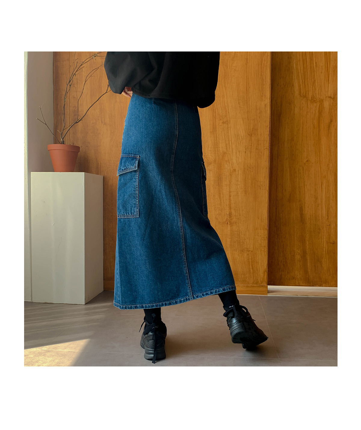 Cargo Sander Denim Long Skirt