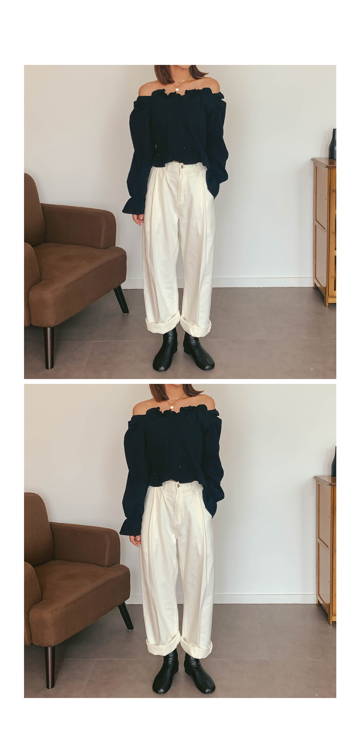 Crop with Bee frill blouse
