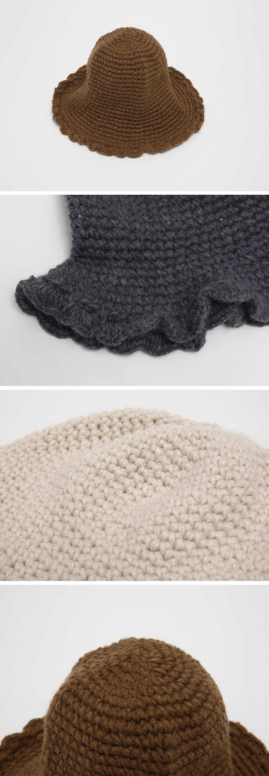 Toffee knit bucket hat_C (size : one)