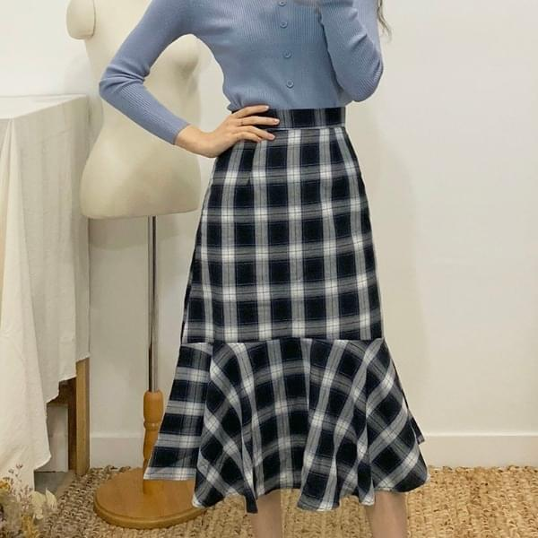 Mubin Mermaid Check Long Skirt