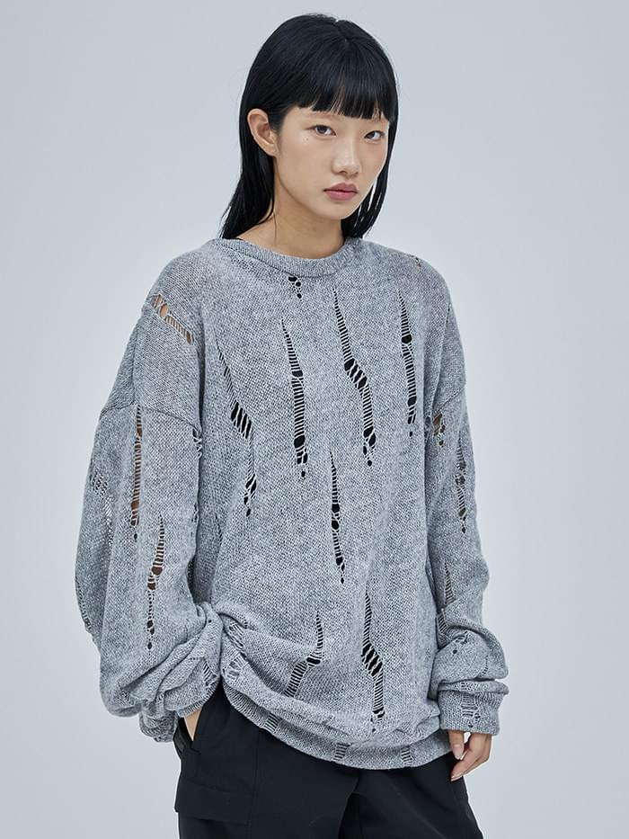 lambswool damage knit - men