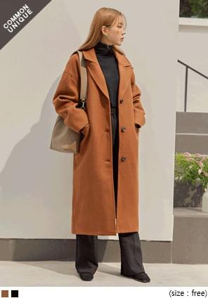 MODEST WOOL SINGLE LONG COAT