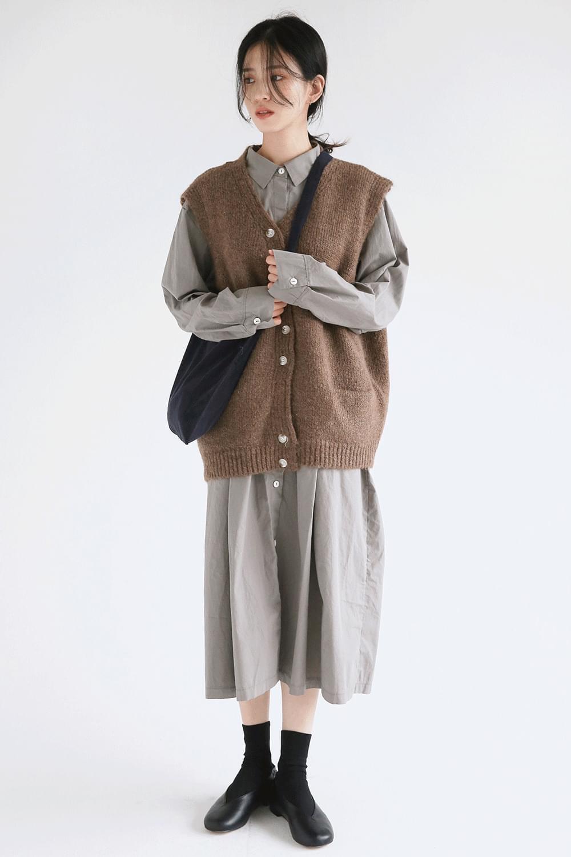 wool texture loose vest
