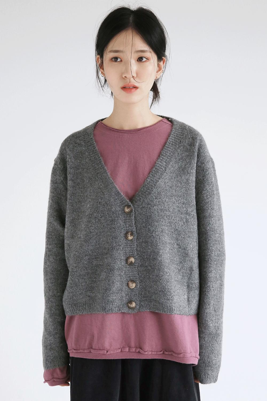 deep neckline wool cardigan
