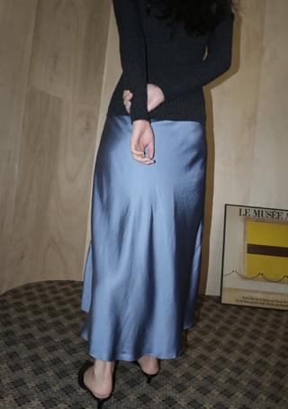matt glossy flare maxi skirt