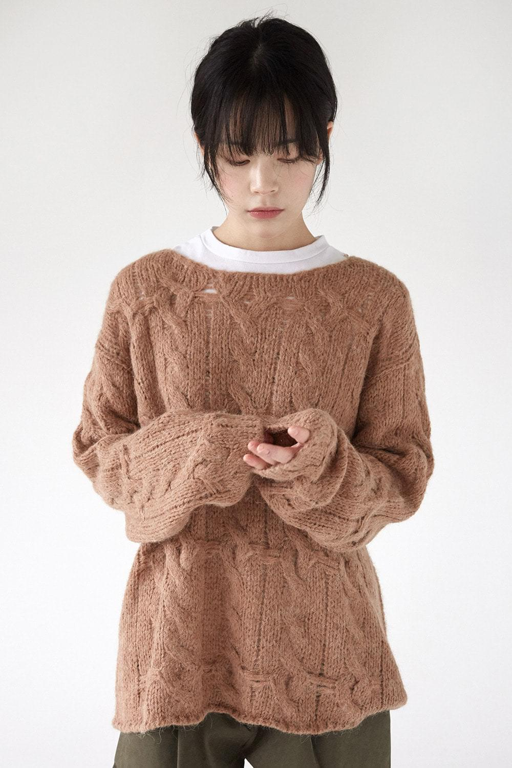 girlish loose twist knit (3colors)