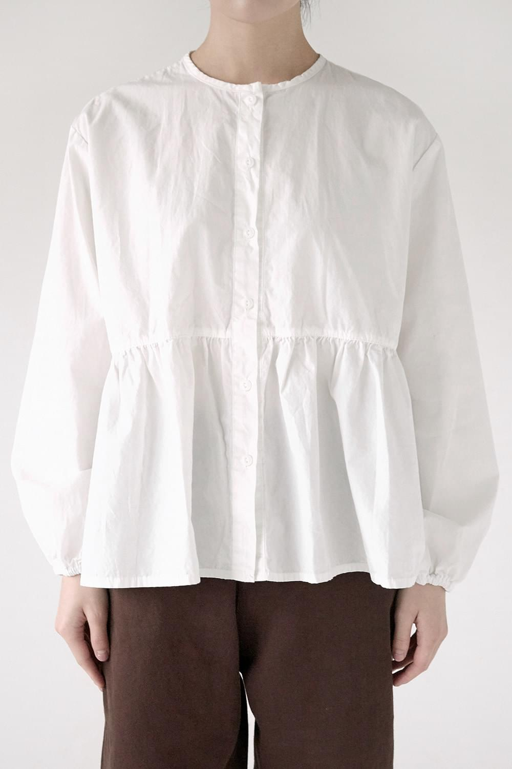 round neck frill blouse