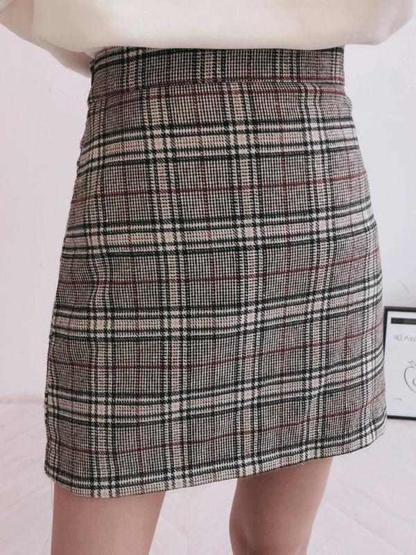 Monotone Check Mini Skirt