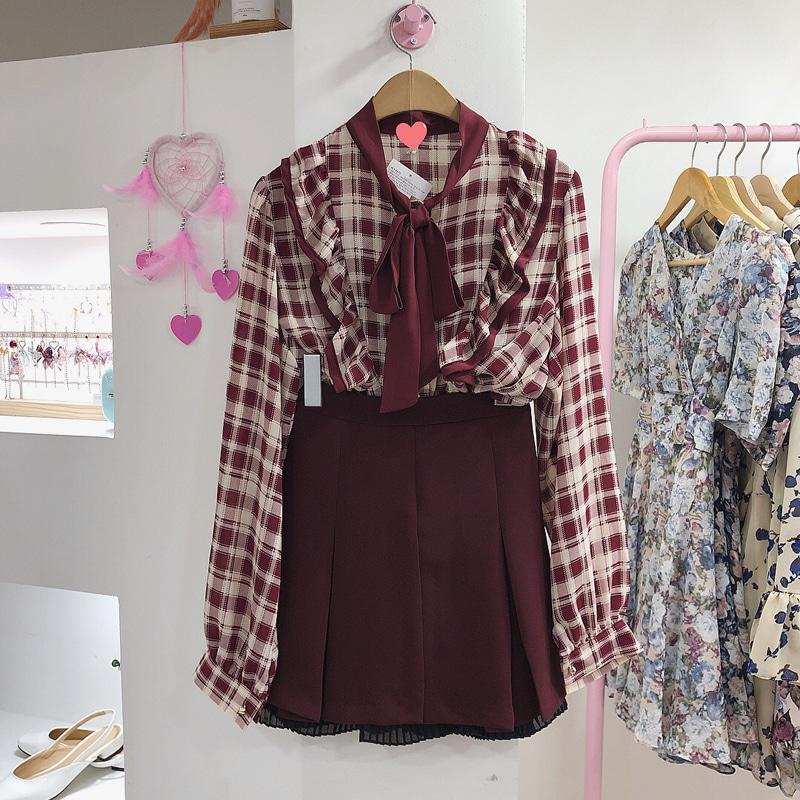 Jenny check ruffle ribbon blouse