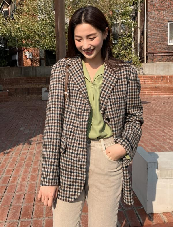 3 button wool check jacket