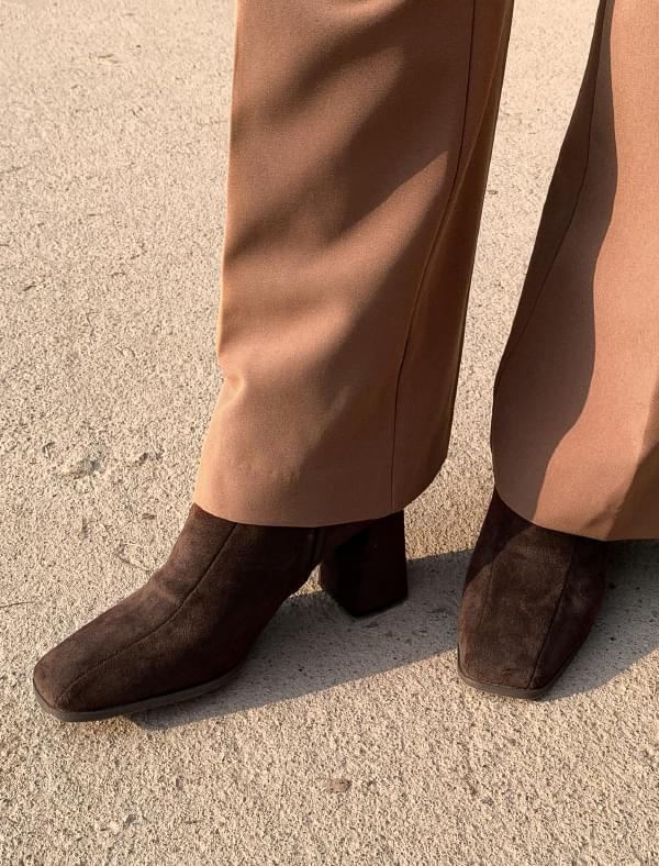 classy suede bootie heel