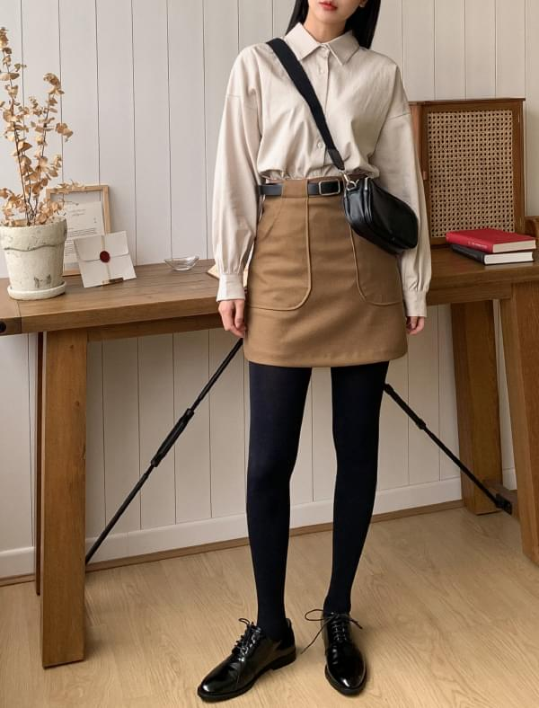 slim line belt mini skirt