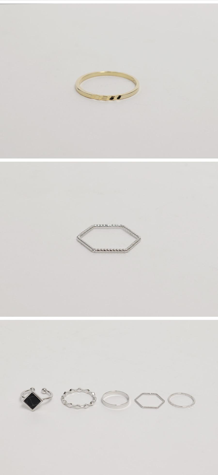Marble jewel ring set_C (size : one)