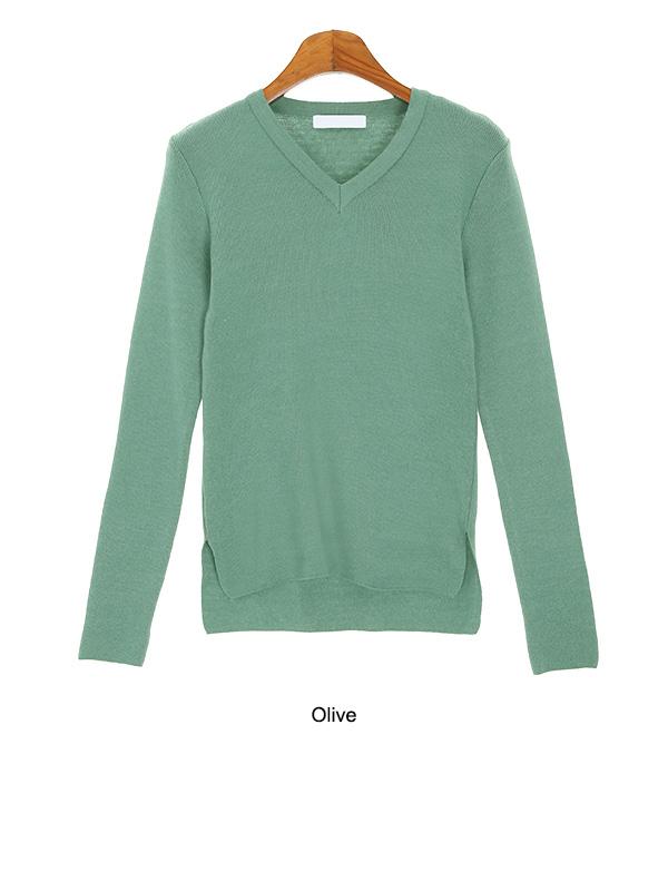 Trim round knit + V neck slim fit knit