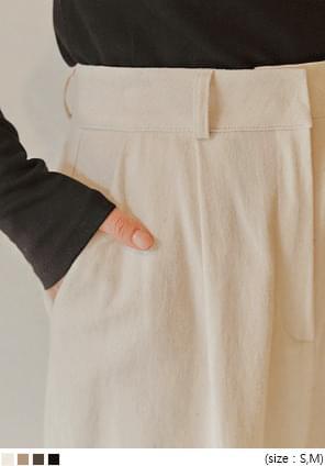 BRASS PINTUCK WIDE COTTON PANTS