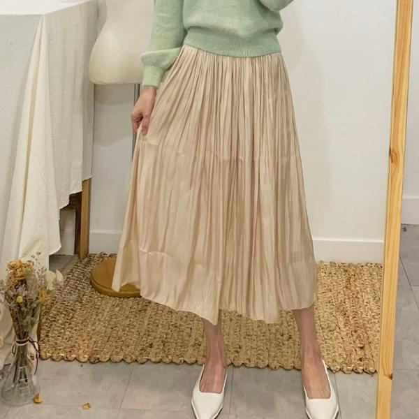 Accordion pleated long skirt