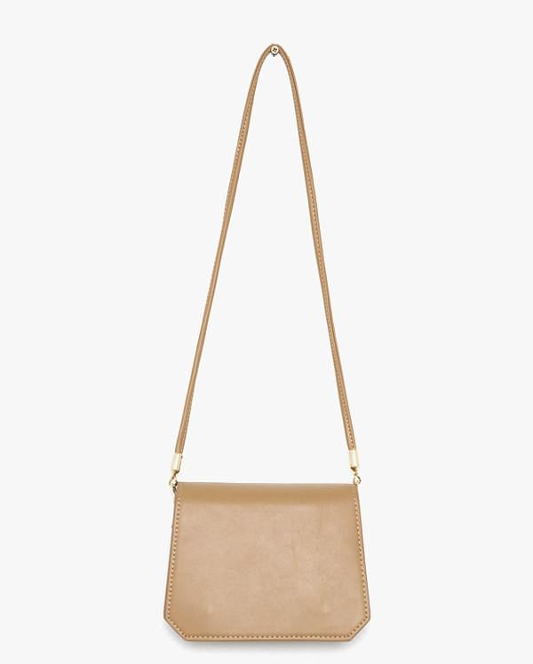angled leather shoulder bag