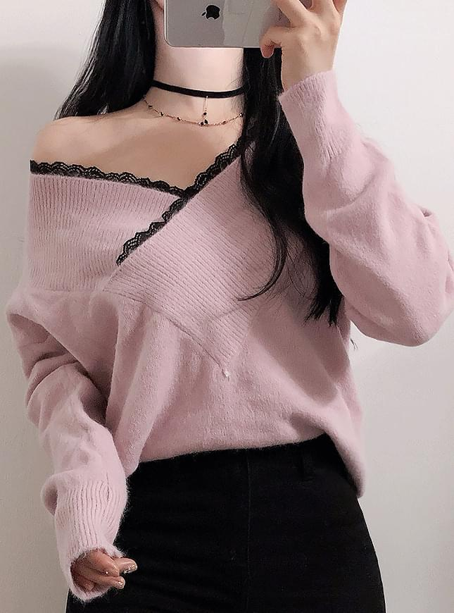 Unfooted lace shoulder knit