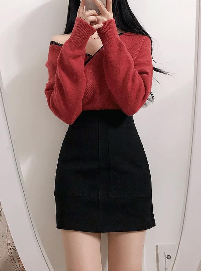 Two Pockets H-Line Mini Skirt