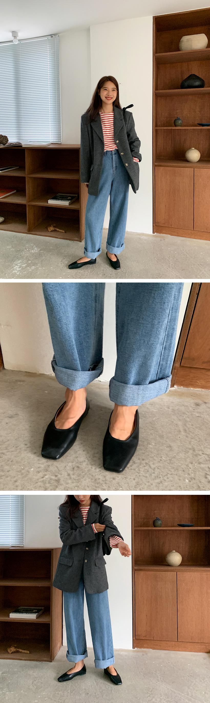 Square toe flat shoes_C (size : 225,230,235,240,245,250)
