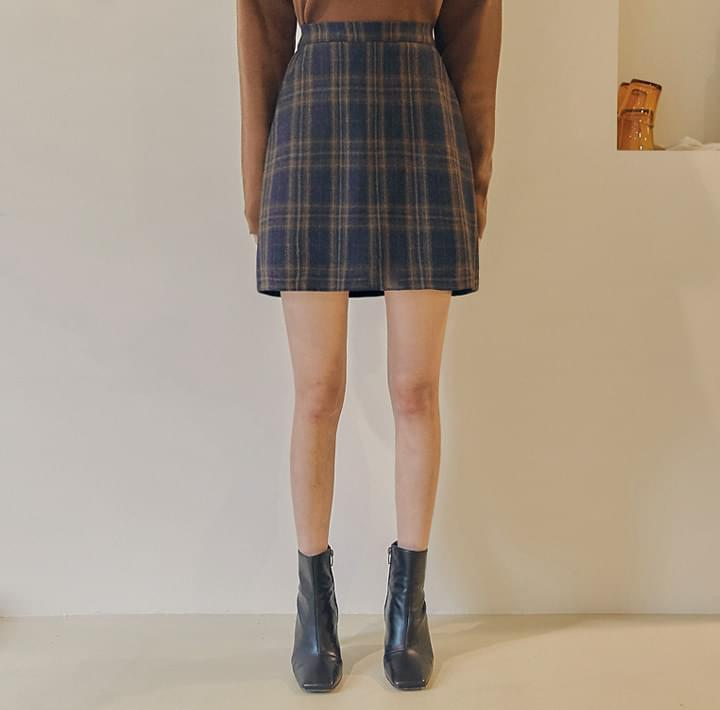 ROITAN WOOL CHECK SET-UP MINI SKIRT