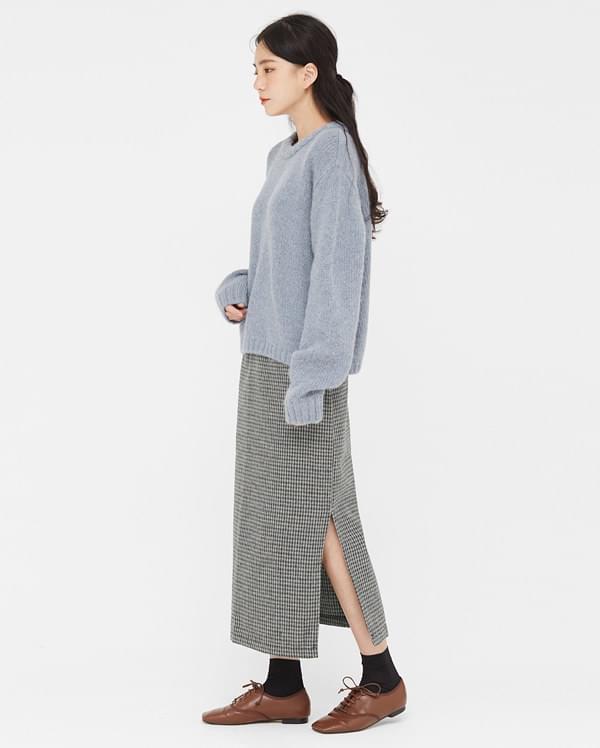 warm check long skirts