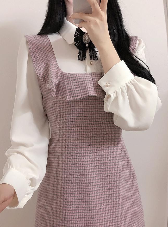 브로치set하운드 배색 원피스(핑크,블랙)
