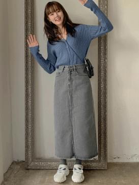 Gray High Denim Long Skirt