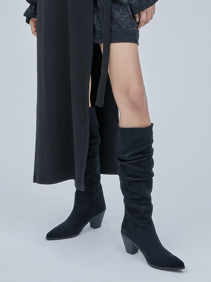 suede western wrinkle boots (2 color)